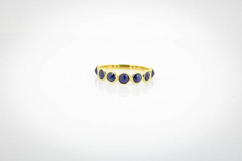 Half Eternity Band with Blue Sapphires and Micro-pavé Diamond