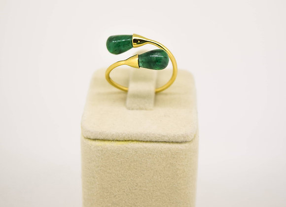 Unique Shape Emerald Drop Ring in 18K Gold