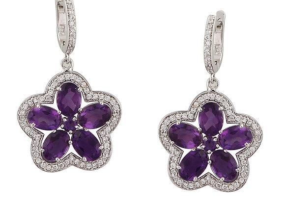 Flower Amethyst Earring in 925 Silver