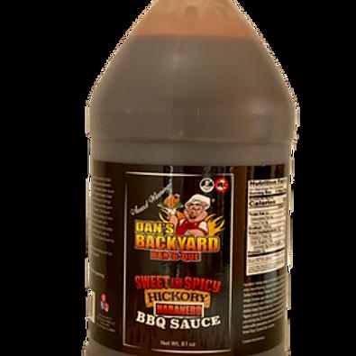 Dans Backyard BBQ Sweet & Spicy Habanero Hickory 1/2 Gallon