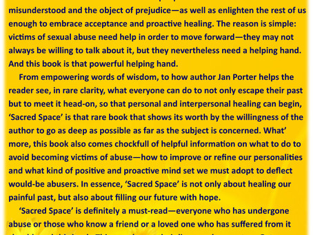 Praise for 'Sacred Space, mind body soul after sexual abuse'