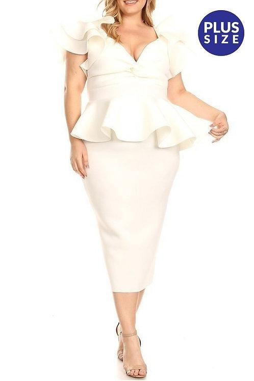 OFF WHITE PEPLUM DRESS