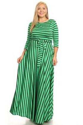 GREEN/BLACK STRIPE MAXI BOW DRESS
