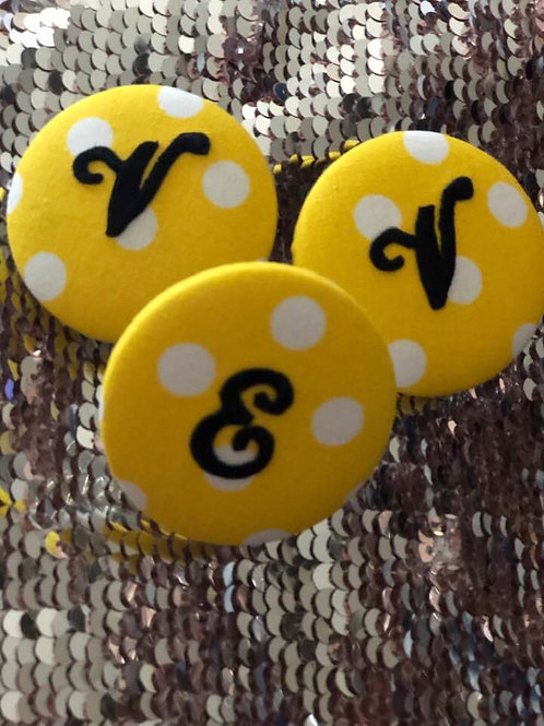 Monogram Button Earrings