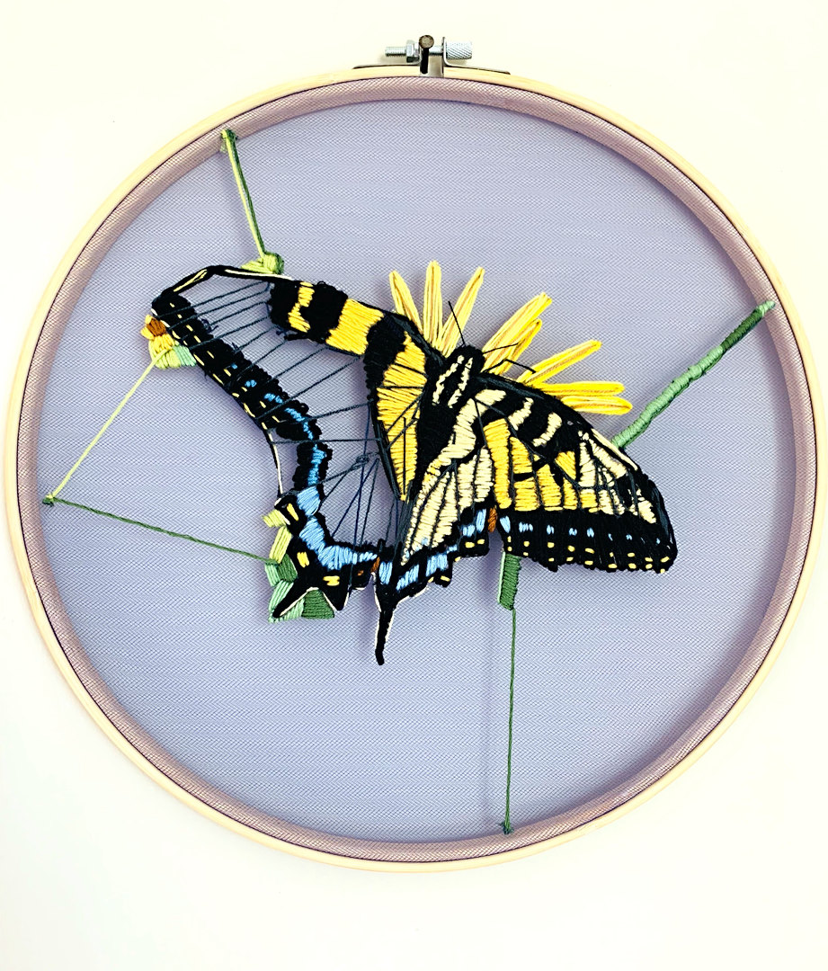 "Swallowtail - Embroidery Floss on Tulle 12"" dia. hoop SOLD"
