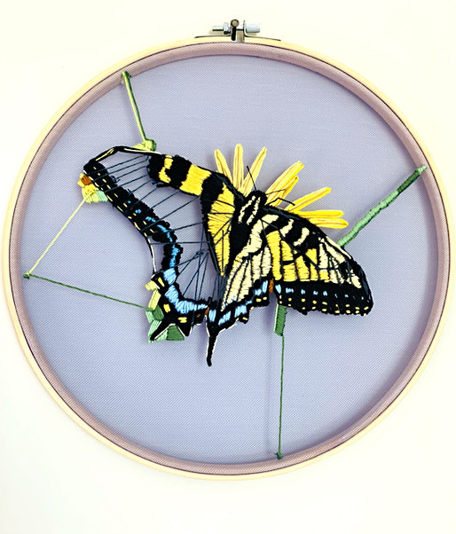 """Swallowtail - Embroidery Floss on Tulle 12"""" dia. hoop SOLD"""