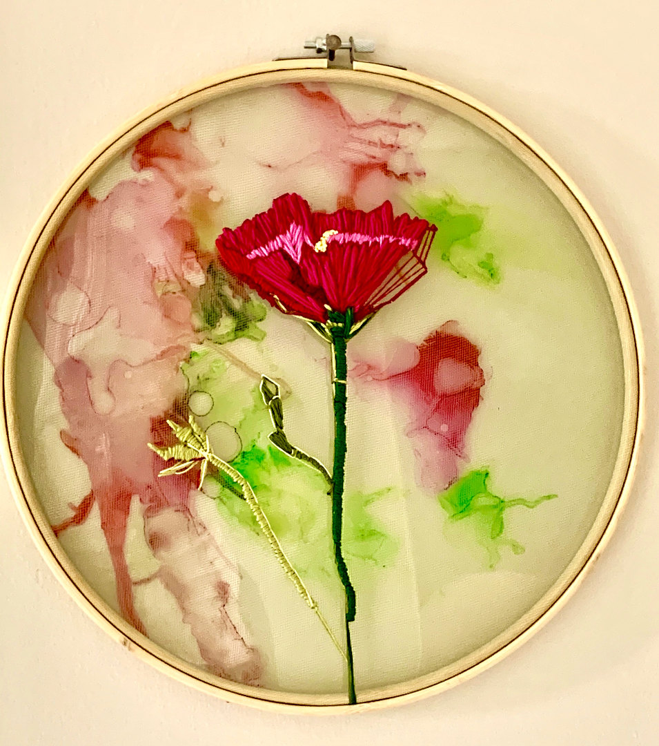"Poppy - Embroidery Floss on Tulle & Alcohol Ink  - 12"" dia. hoop $475.00.complimentry shipping within the continental US"