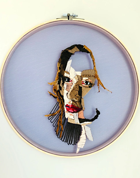 """Refelction - Embroidery Floss on Tulle 12"""" dia. hoop Embroidery Floss on Tulle - 12"""" dia. hoop - $525.00, complimentry shipping within the continental US"""