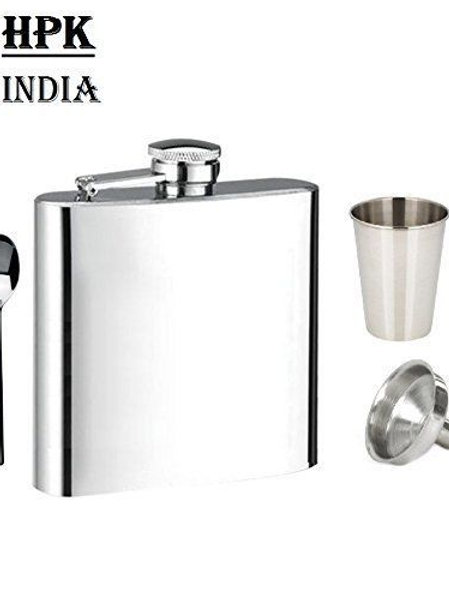 Flask With Glass, Funnel & Spoon