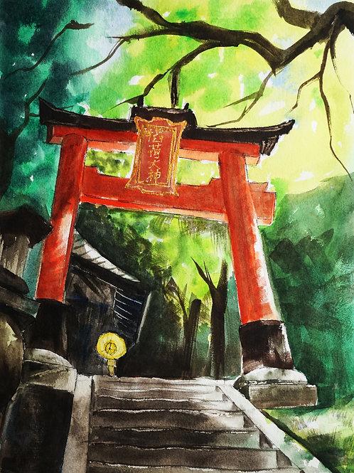 Fushimi Gate - Original watercolor on cold press paper