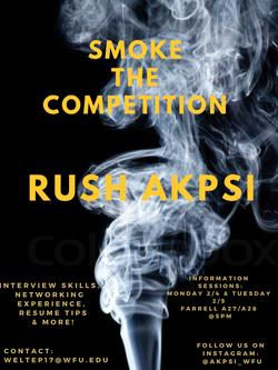 AKPsi Rush Poster Smoke the Competition