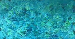 "Abstract #3 (Green, Yellow & Aqua, 3-D) 28""x48"""