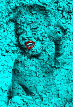 Marilyn Portrait of Shells in Turquoise