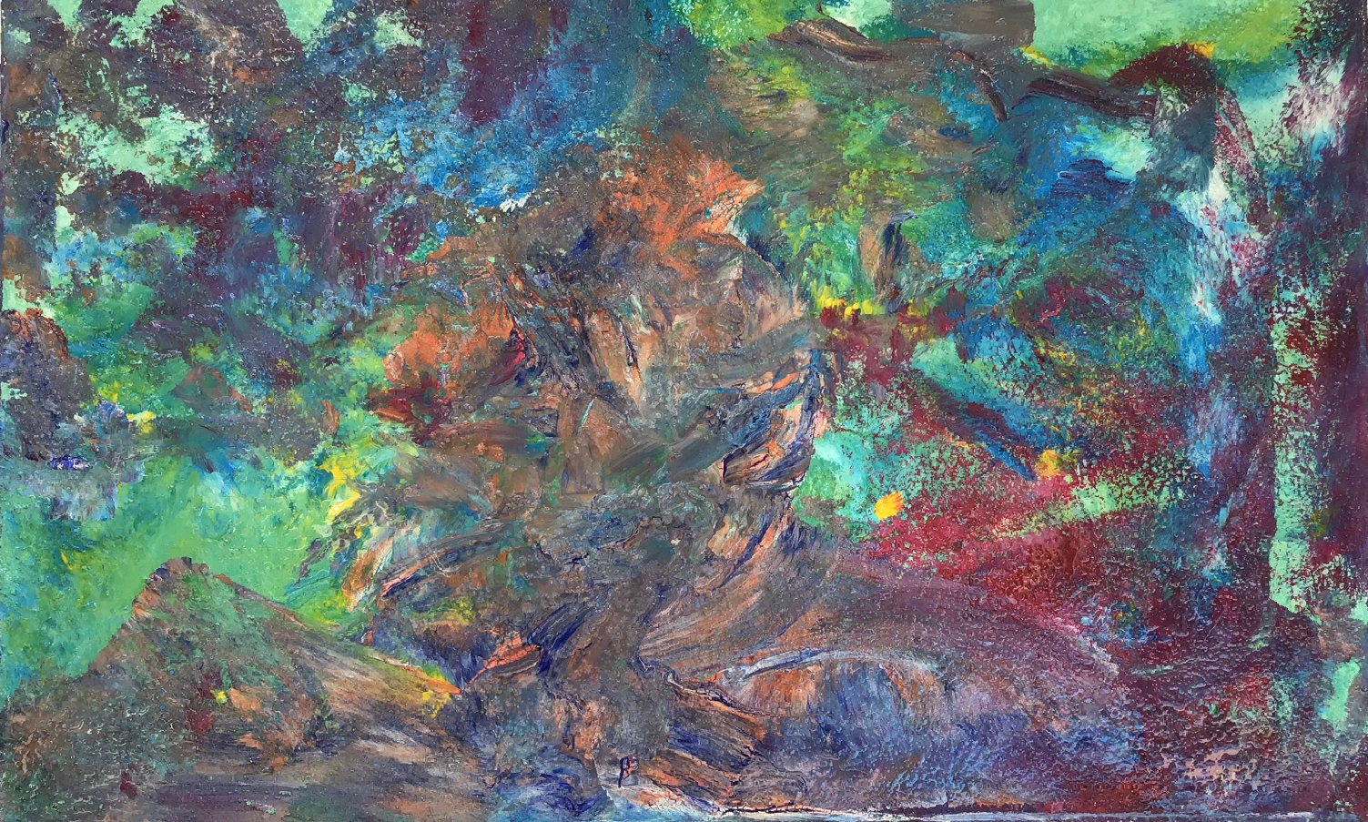 "Abstract #10 (Green, Purple & Blue, 3-D) 30""x48"""