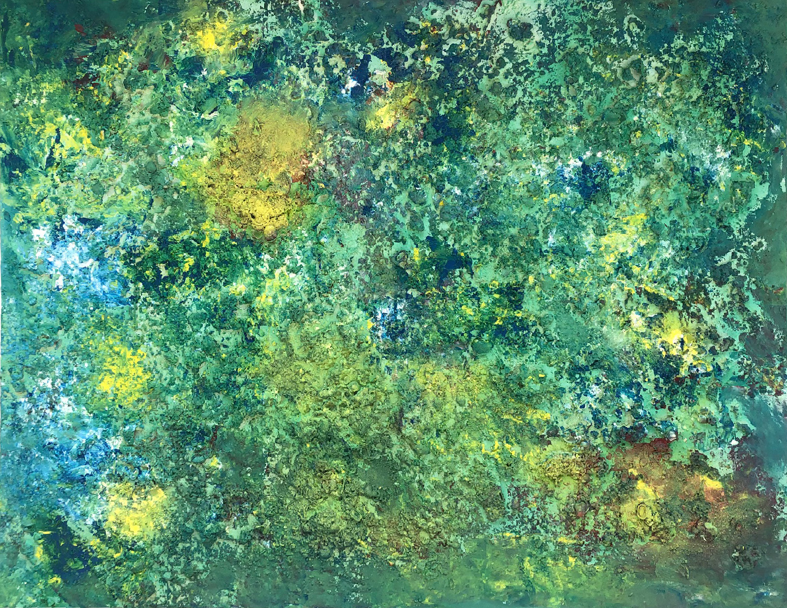 "Abstract #15 Yellow, Green and Blue 35""x48"""