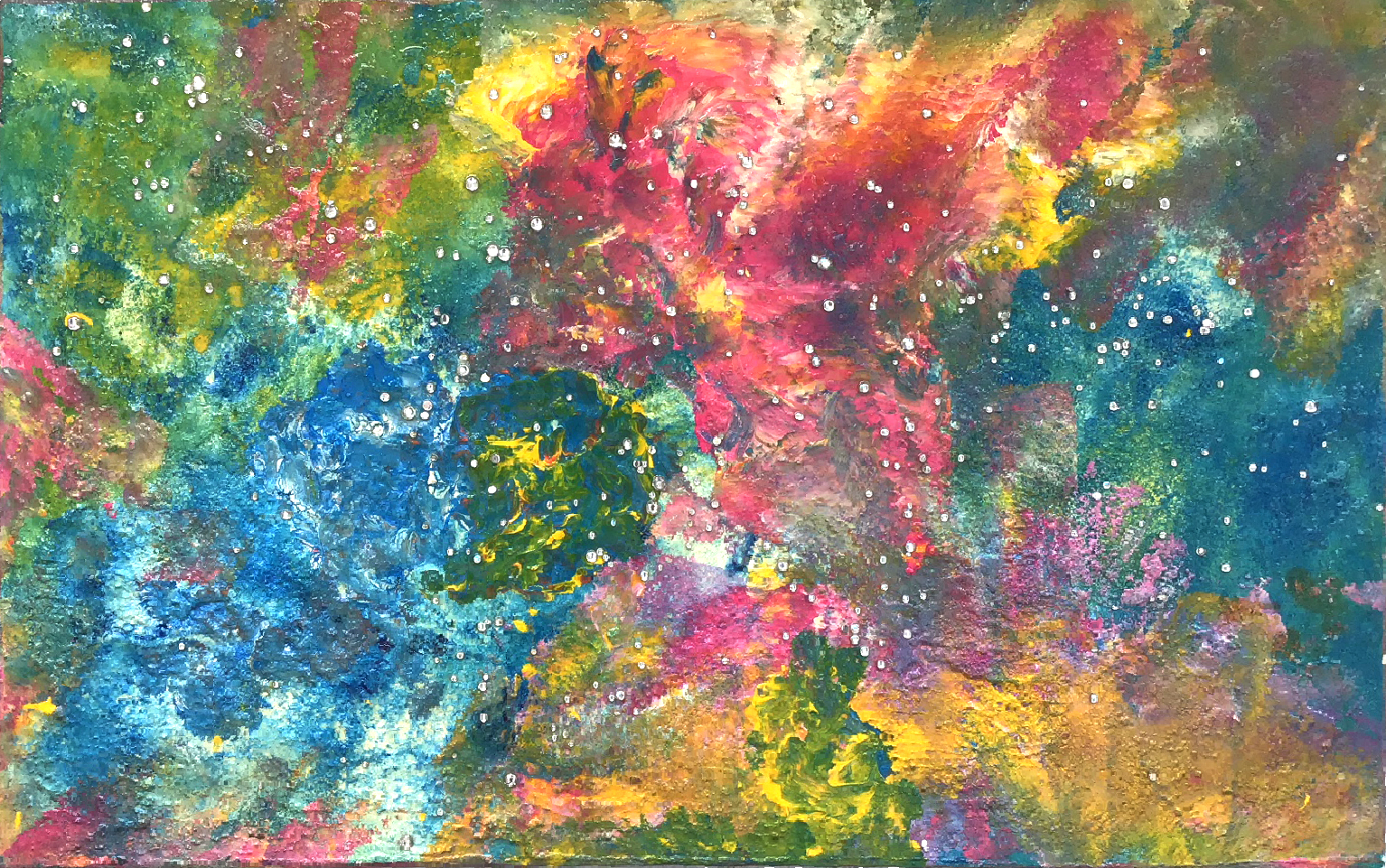 "Abstract #2 (Milky Way, Yellow, Red & Blue) 30""x48"""