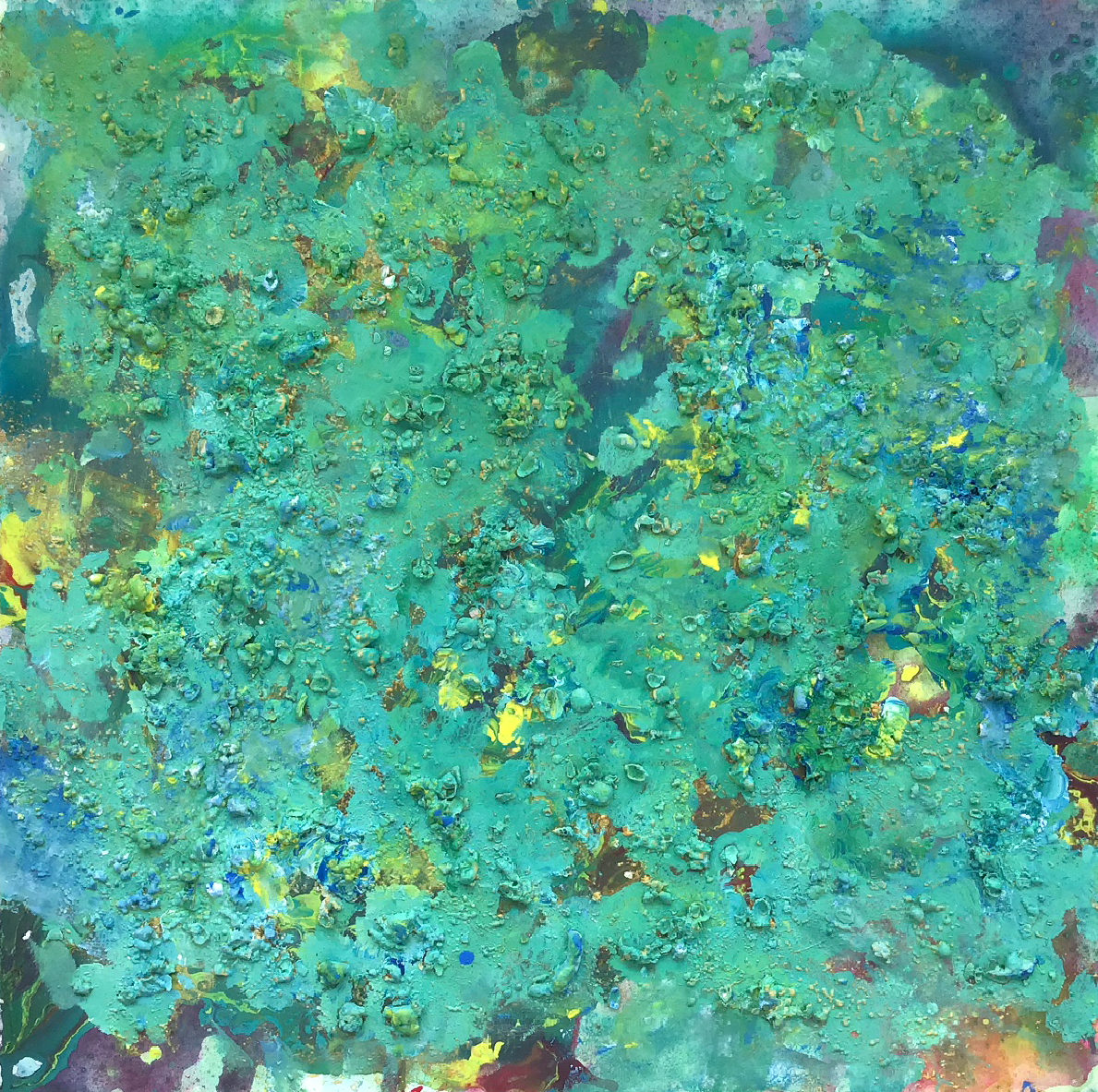 "Abstract #5 (Yellow, Purple & Green, 3-D) 36""x36""stract #4 (Yellow, Blue & Green, 3-D)"