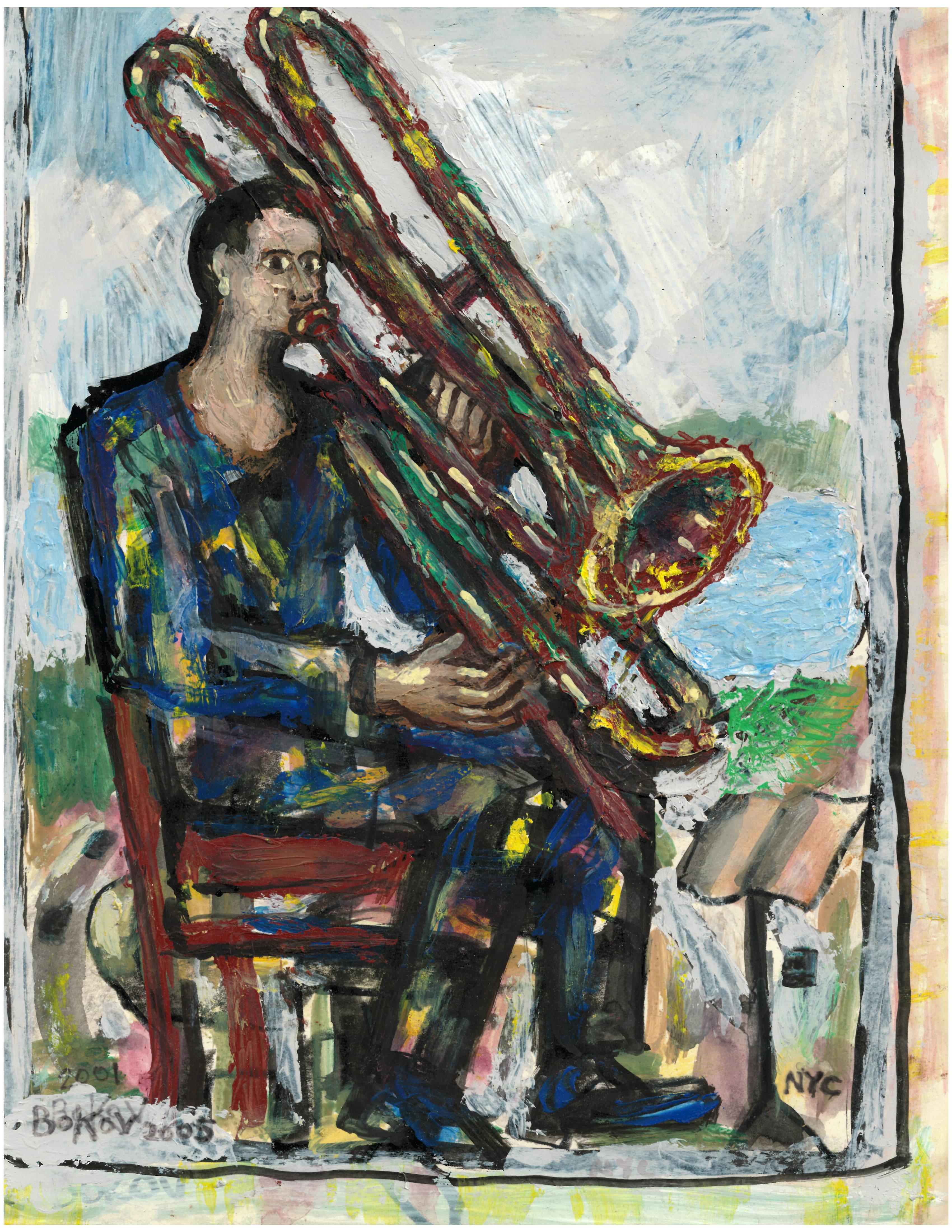 """Trombonist 2005, 9"""" x 12"""""""