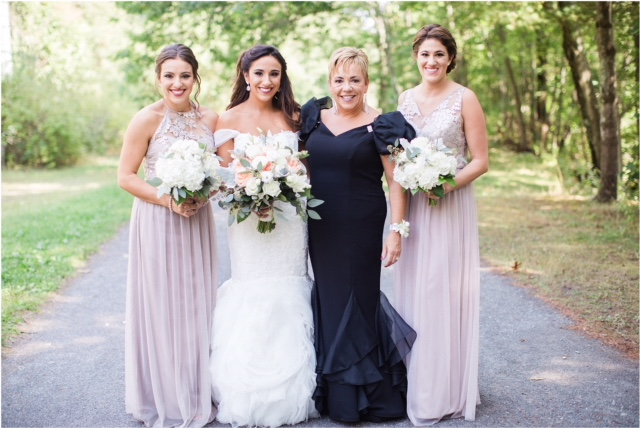 Alicia, her mom, and her bridesmaids