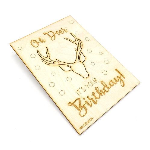 Verjaardagskaart met broche 'Oh Deer, it's your Birthday!'