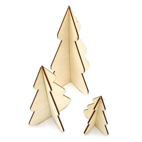 Set van 3 houten kerstboompjes