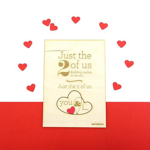 Houten lasercut Valentijnskaartje 'Just the Two of Us'