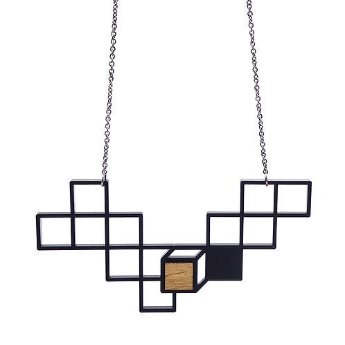 Hanger 'Cubes' - zwart/hout