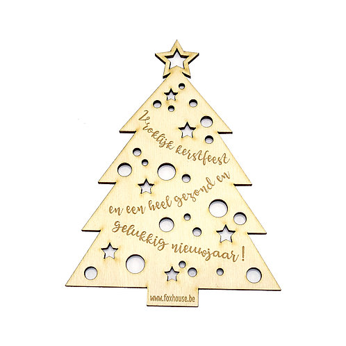 Lasercut Kerstkaartje 'Vrolijk Kerstfeest'