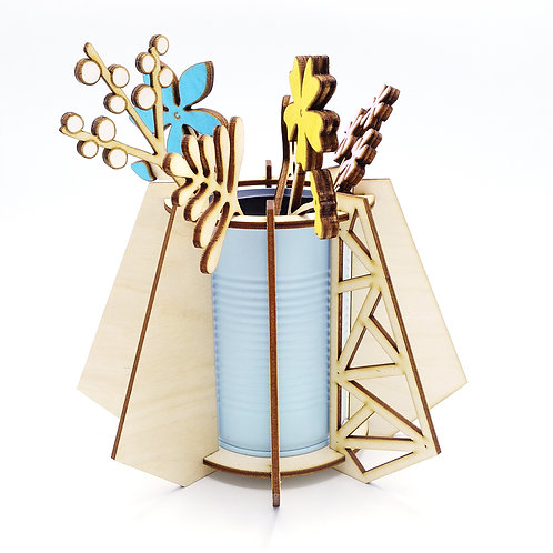 Lasercut bloemenvaasje 'Lief lichtblauw'