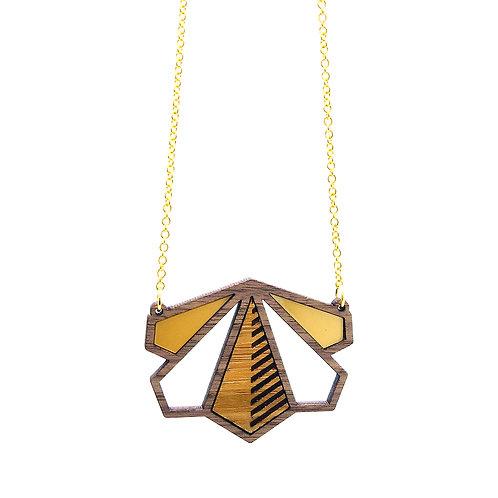 Hanger 'Square Flower' - enkel - hout/goud
