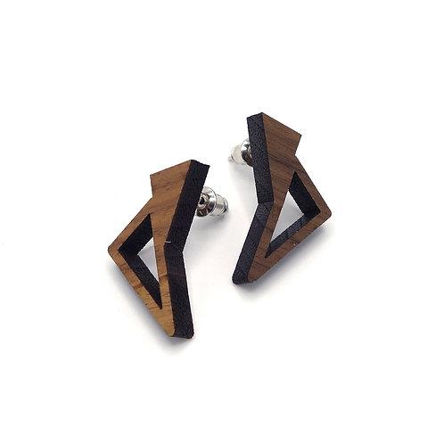 Oorbellen 'Triangles' - hout