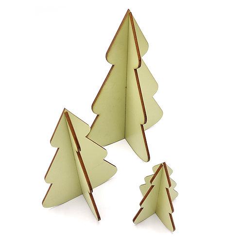 Set van 3 houten kerstboompjes - Groen