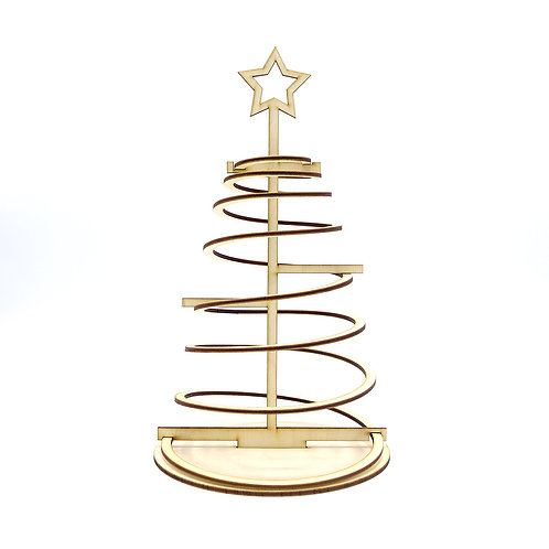 Lasercut Spiraal Kerstboom 'Naturel' - klein