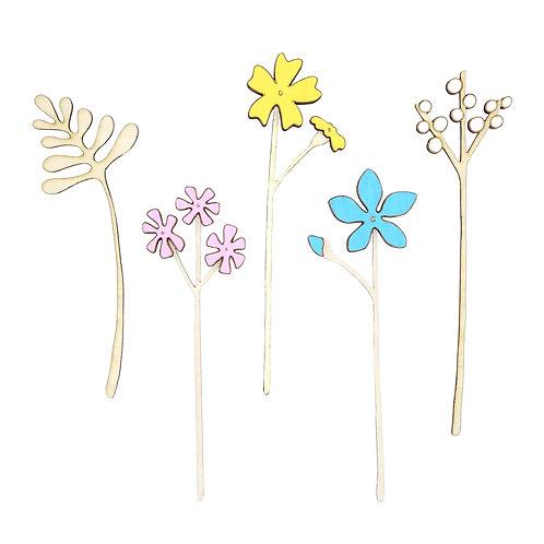 Houten bloemen 'Pastel'