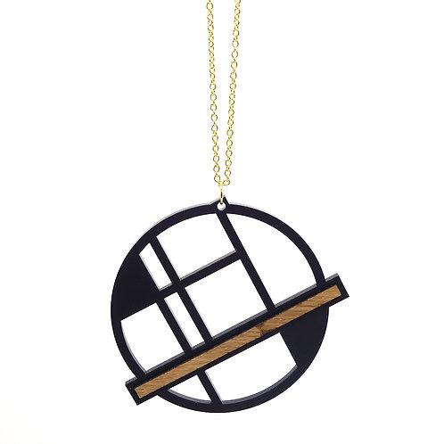Hanger 'Circle' - zwart/hout