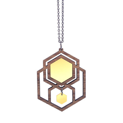 Hanger 'Hexagon' - hout/goud