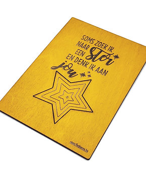 Warme wenskaart met magneet 'Soms zoek ik een ster'
