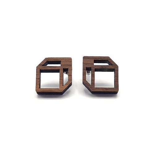 Oorbellen 'Cubes' - hout