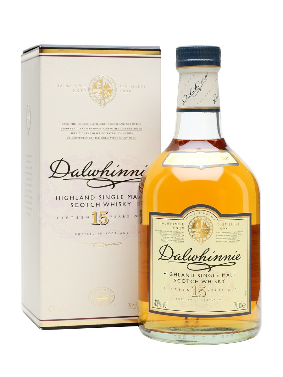 A bottle of Dalwhinnie 15 and its box