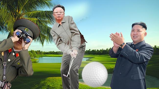 Kim Jong Un golfing, clapping, and looking through binoculars