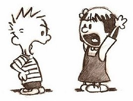 Two cartoon characters yelling at one another