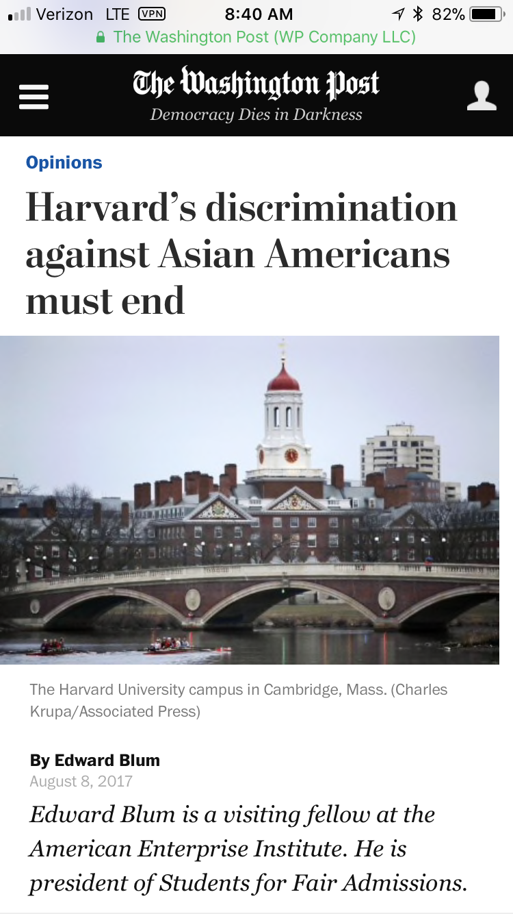 Washington Post article about Harvard's discrimination against Asian Americans