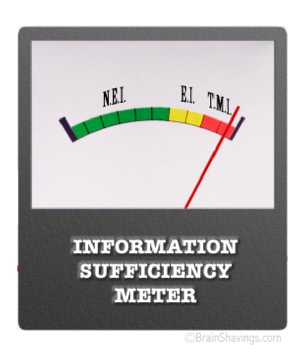Information sufficiency meter registering TMI