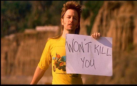 "Joe Dirt holding a sign reading, ""Won't Kill You."""