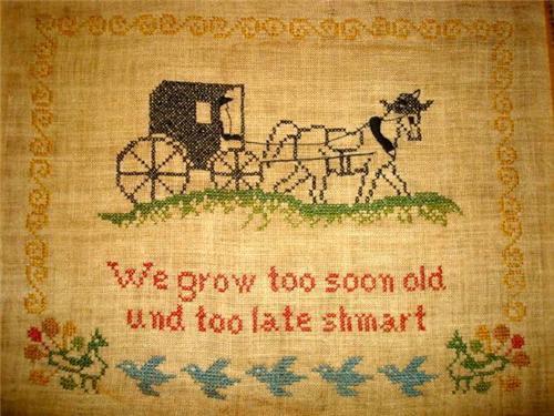 Amish needlepoint saying