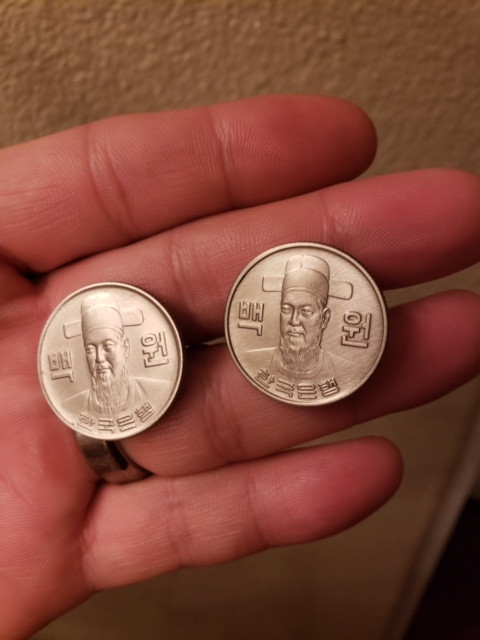 Korean Won cufflinks