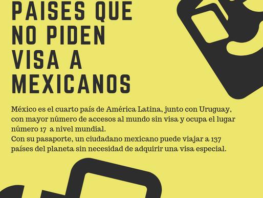 Conoces los países que no piden VISA a mexicanos.