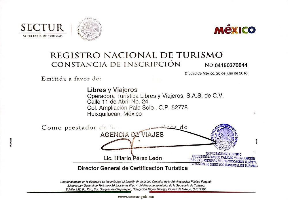 registro nacional de turismo Libres y Viajeros. Agencia de viajes