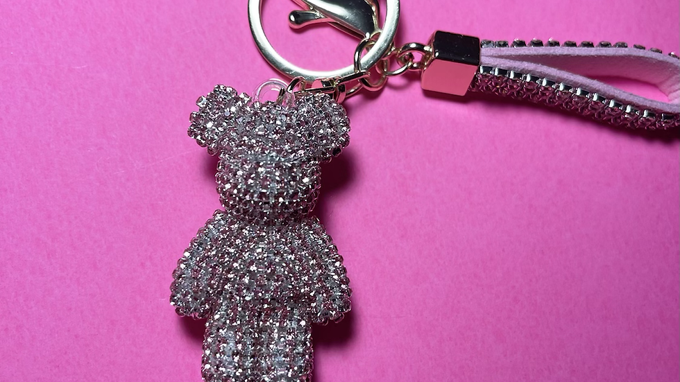 Iced out diamond bear keychain