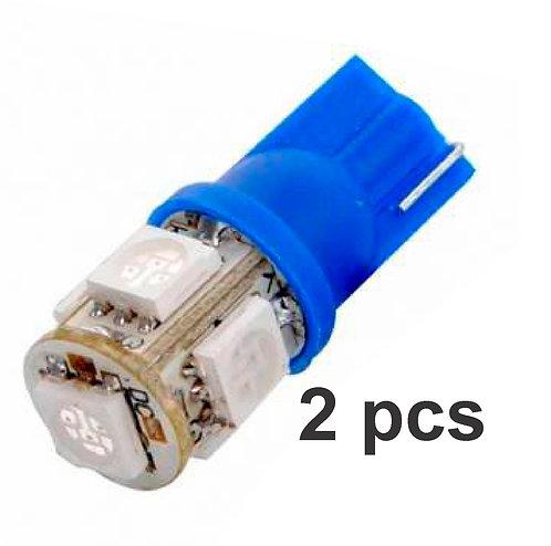 T10 5 Led Strober Flashing 2 Pcs Blue